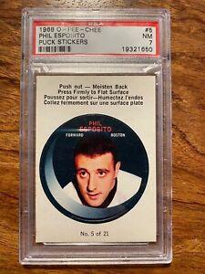 1968-69 O-Pee-Chee Phil Esposito Puck Sticker #5 OPC 1968 Boston Bruins PSA 7 NM