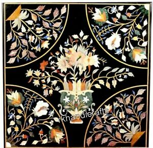 21 Inches Marble Patio Sofa Table Top Inlay with Royal Flowers Art Coffee Table