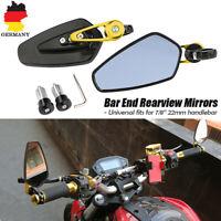 "Motorrad 7/8"" 22mm Lenkerendenspiegel Lenker Endseite Rückspiegel Aluminium Gold"