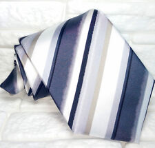 Design striped neck tie white grey black Made in Italy wedding / business ties