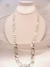 925 SOLID STERLING SILVER HEAVY FIGARO CHAIN 24""