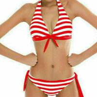 New Women Striped Stitching Bikini Set Swimwear Swimsuit Bathing Suit