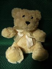 """Next Teddy Bear Soft Toy With Cream Silky Bow Ribbon 9"""" approx vgc"""