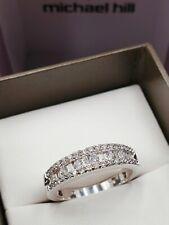 MICHAEL HILL 10ct White Gold Ring Diamond Band 10K MHJ Size O - 7.5 Value $2000