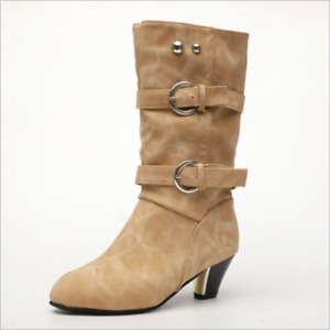 Fashion Women's Knight Suede Block Heels Round Toe Mid Calf Boots Double Buckle