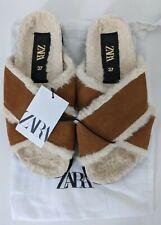 Zara Women's Faux Fur Leather Flat Sandals UK4 EUR37