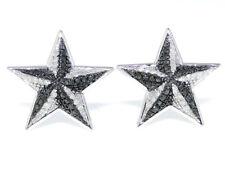 White Gold Finish Black White Diamond Star Shape Stud Earrings