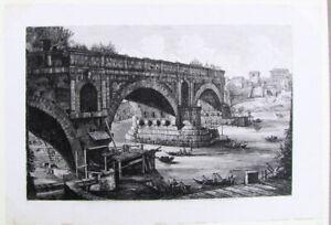 Luigi Rossini Large Original Etching Veduta del Ponte Rotto 1822