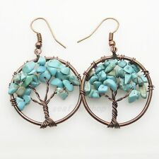 Green Turquoise Chip Beads Tree of Life Round Reiki Chakra Copper Hook Earrings