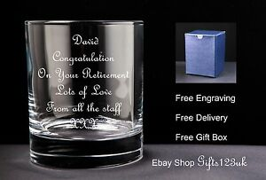 Personalised 10oz Whisky Glass, Retirement / Leaving Gift