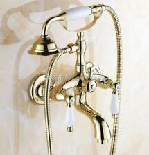 Gold Color Brass Dual Ceramic Handles Wall Mount Bath Clawfoot Tub Faucet ytf084