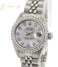 Rolex Lady Datejust SS White MOP  Diamond Dial Diamond U Bezel 26mm Watch