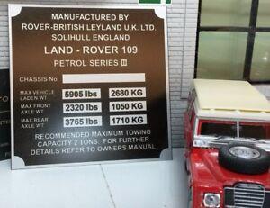 Land Rover Série 3 Lampe Vitesse / Transfert Boite Châssis Plaque 109 Essence