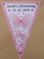 Personalised Butterfly Girl bunting / party / Christening / Baby Shower