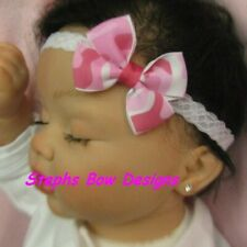 Pretty Pink Camouflage Camo Dainty Hair Bow Headband Fits Preemie to Toddler
