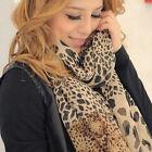 New Fashion Womens Long Soft Wrap Lady Shawl Silk Leopard Chiffon Scarf Shawl