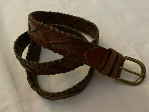 """Fossil Brown Braided 1"""" Wide Leather Belt Gold Brass Buckle Women's Size Large"""