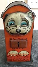 VERY RARE antique 1920s SAALHEIMER STRAUSS BONZO TIN TOY MECHANICAL MONEY BANK