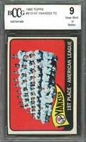 1965 topps #513 NEW YORK YANKEES team card w/ MICKEY MANTLE BGS BCCG 9