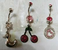 Lot of 3 Belly Button Ring Dangle Navel Set Piercing Body Jewelry Hearts Cherry