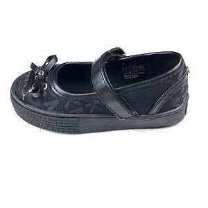 Michael Kors Toddler 7 Mary Jane Shoes Black Faux Leather MK Logo Bow Strap SJ