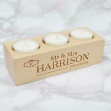 Personalised Tea Light MR & MRS Wooden Candle Holder Anniversary or Wedding Gift