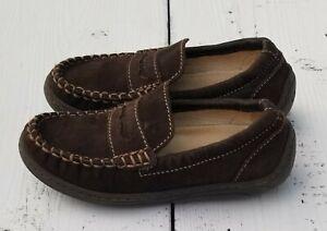 PRMIGI Toddler Boys Brown Leather Loafer Slip On Size 11