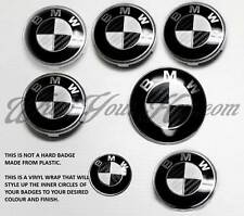 WHITE & BLACK CARBON FIBER Badge Overlay FOR BMW HOOD TRUNK RIMS @FITS ALL BMW@