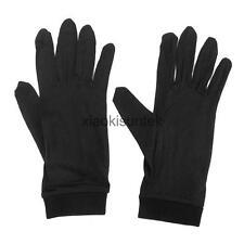 Pair Pure Silk Liner Gloves Ski Motocycle Skiing Cycling Running Glove Black