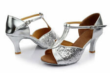 New Women's Ballroom Latin Tango Dance Shoes Heeled Salsa Sequin Shoes Size 6-9