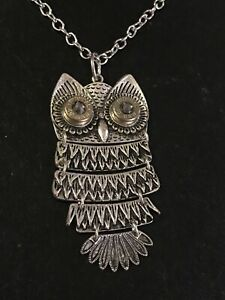 """Articulated VTG Owl Pendant Necklace Silver Tone Chain Blue Eyes 28"""""""