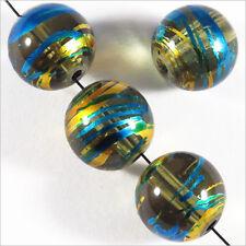 Lot de 20 perles en verre Décorées 12mm Vert
