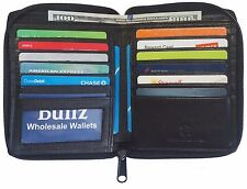 RFID Genuine Leather Mens Zipper Bifold Wallet Hipster Cowhide Credit Card Black