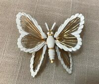 Monet Gold-Tone Wire-White Enamel Butterfly Pin/Brooch, Wire Wings Insects-Bugs