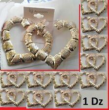 "3.25"" W Size 1Dz Lot of 12 Bamboo HEART Design Wholesale Earrings GOLD Tone"