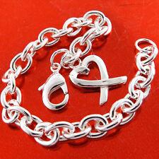 Silver S/F Ladies Heart Charm Design Bracelet Bangle Genuine Real 925 Sterling