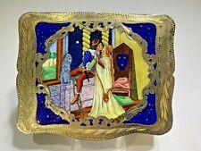 Antique Italian Romeo & Juliet Enamel  & Gold Wash Silver Snuff/Cigarette Box
