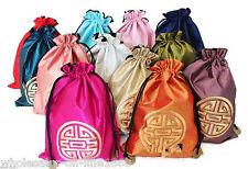 WHOLESALE 10PCS Mix Color Travel Shoes Pouch Bag brocade Drawstring Closure Bags