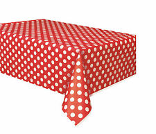 PARTY TABLEWARE PLASTIC TABLE COVER & SKIRT SOLID COLOUR / STRIPE / DOTS DESIGN
