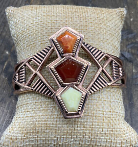 Barse Tres Piedras Cuff Bracelet- Mixed Stones & Copper- New with Tags