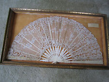 Hand Painted ROSE POINT LACE FAN  Worn as Queen of Daughters of CONFEDERACY BALL