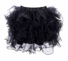 Black Layered Ruffle Puffy Petticoat Tutu Mini Skirt OSFM (8-12) Aussie Seller