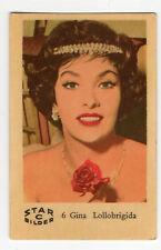 1960s Swedish Film Star Card Bilder C #6 Italian actress Gina Lollobrigida