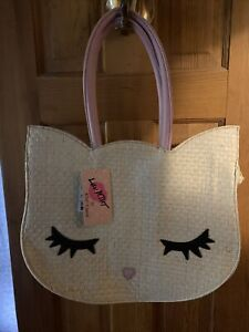 NEW Luv Betsey Johnson Pink Cat Kitty Straw Tote Bag Purse