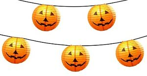 Halloween Jack O Lantern Lantern Light Strand 5 Lanterns NEW UL Indoor/Outdoor