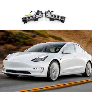12V Front Fog Light Flowing Turn Signal Assembly for Tesla Model 3 2017-2021