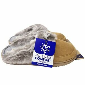 Dearfoams Allison Slipper L 9-10 Tan Closed Toe Scuff Clog Faux Fur Comfort NEW