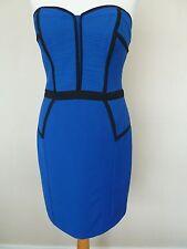 Fab Spotlight Warehouse Electric Blue Black Bustier Pencil Dress Size 12 VGC
