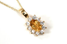9ct Gold Citrine and CZ Cluster Pendant necklace and Chain Gift Boxed Made in UK