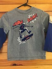 Gymboree Super Dude Layered Skateboard Shirt Boys Gray w/Blue Sleeve Tee Top 5